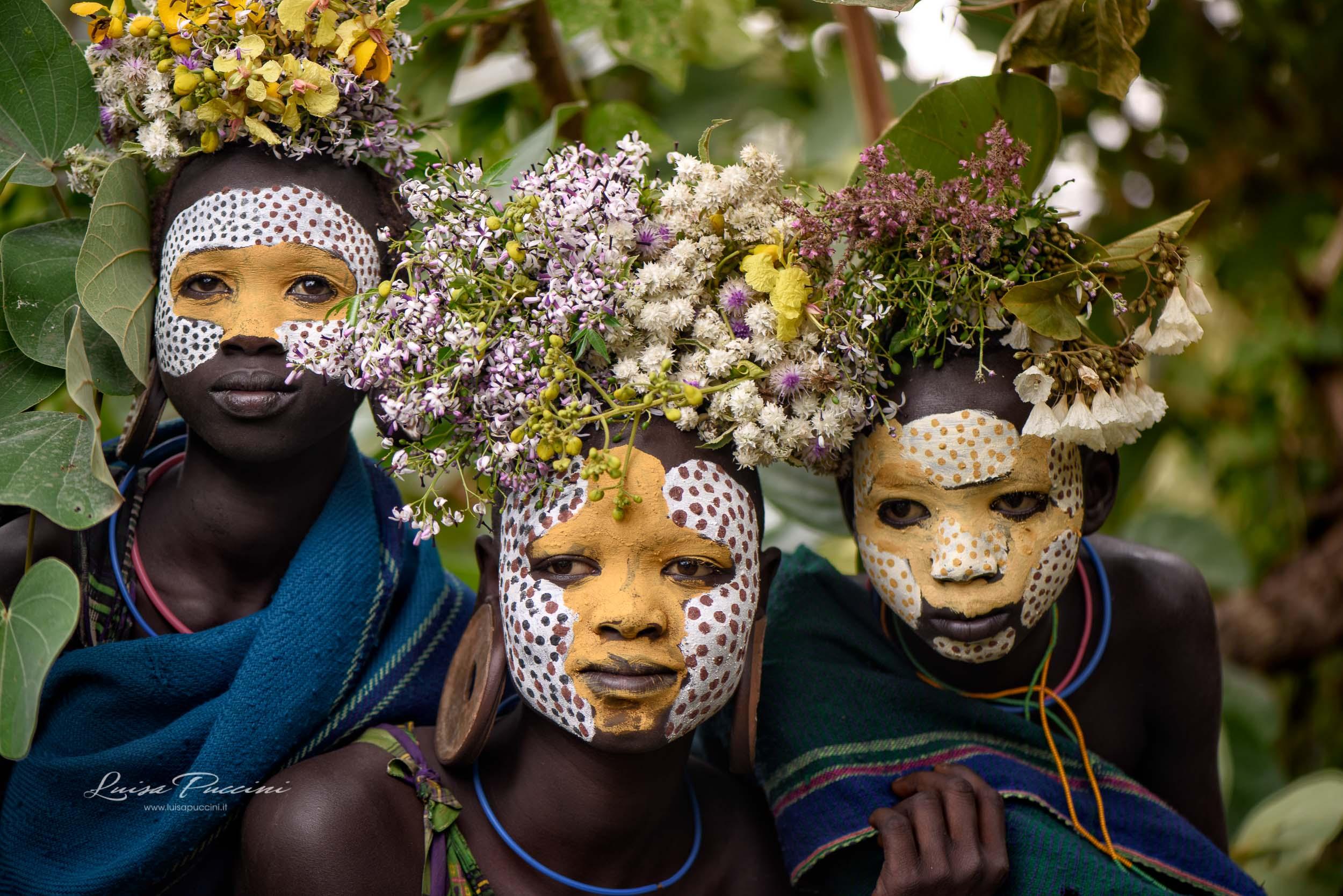 Surmi, portrait, ethiopia, Africa, tribe, bosy painting, flower, travel, luisa Puccini