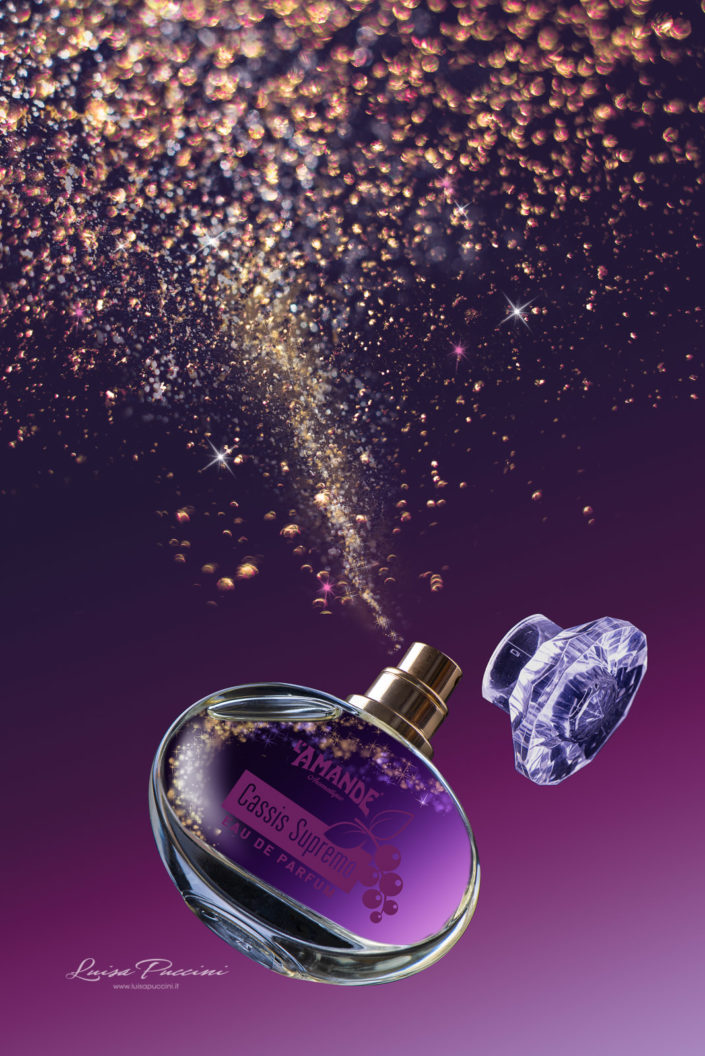 parfum, l'amande, Luisa Puccini, spray, cassis, scent, purple, orange photographic, gold, light